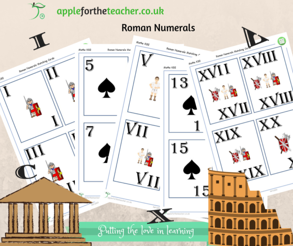 Roman Numerals Matching Cards to 20