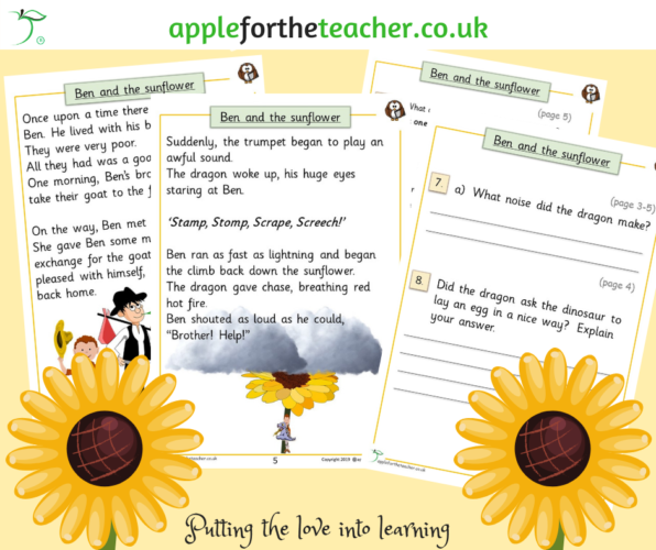 Story Ben and the Sunflower Comprehension Higher