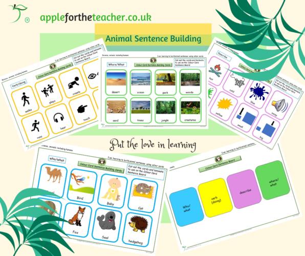 Animal Sentence Building Colour Board