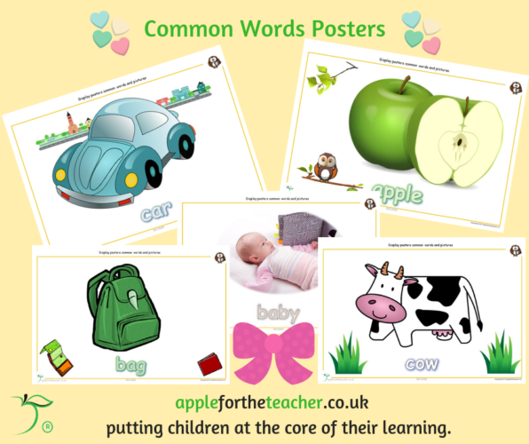 Common Words and Pictures Display A to B