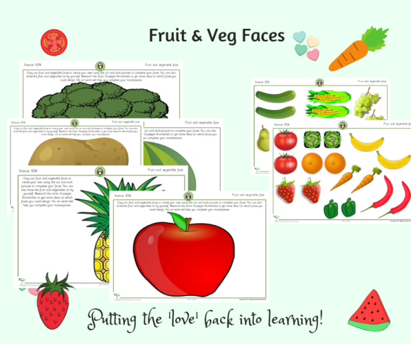 Fruit and Vegetable Faces Cut and Stick