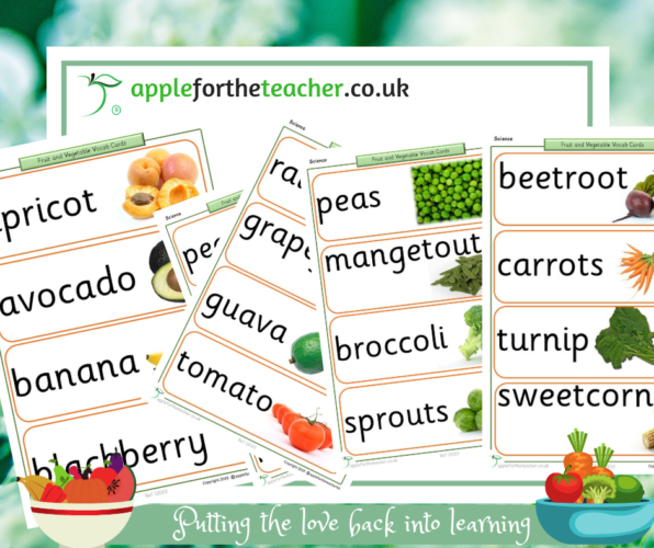 Fruit and Vegetable Vocabulary Display Cards