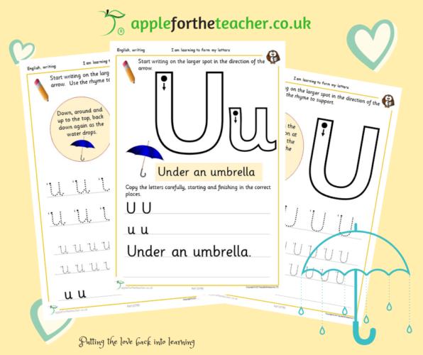 letter uu alphabet handwriting practice worksheets apple for the teacher ltd. Black Bedroom Furniture Sets. Home Design Ideas