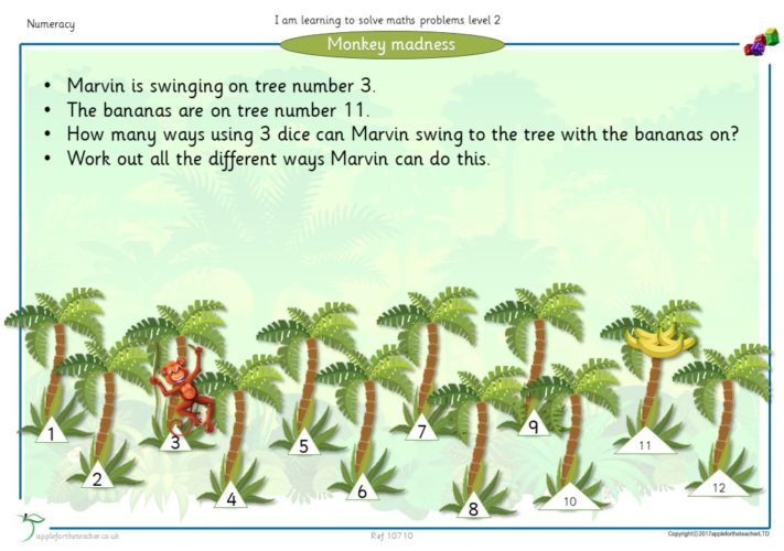 Monkey Madness Level 2 Maths Problem Solving   Apple For The