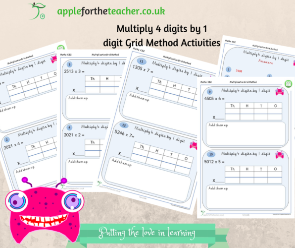 Multiply 4 Digits By 1 Digit Grid Method Activities