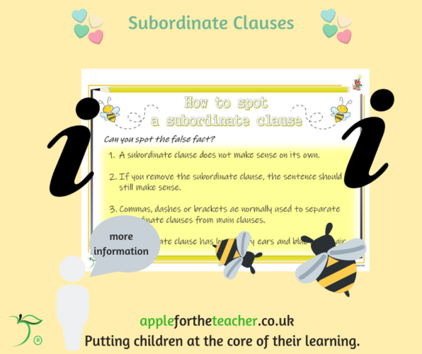 Subordinate Clause Poster Tips Year 4 English