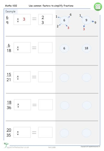 Use Common Factors To Simplify Fractions Worksheets Apple For The