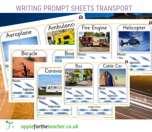 writing prompt sheets transport